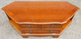 Yew Wood Low TV Stand DVD Cabinet